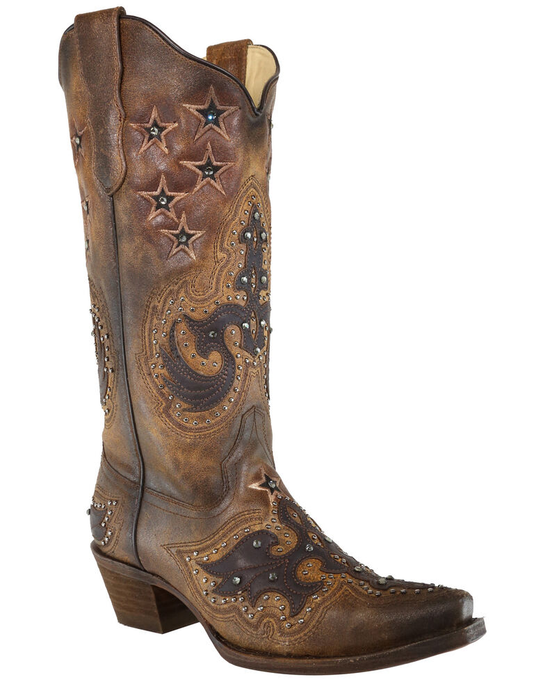 Corral Women's Brown Overlay With Studded Stars Western Boots - Snip Toe, Dark Brown, hi-res