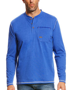 Ariat Men's Royal Blue Heather Rebar Long Sleeve Pocket Henley, Royal Blue, hi-res