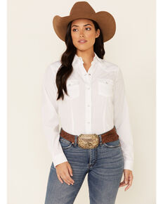 Roper Women's White Tone-On-Tone Solid Long Sleeve Snap Western Shirt , White, hi-res