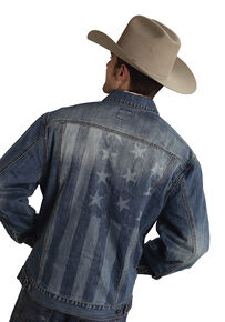 Roper Americana Collection American Flag Jean Jacket, Denim, hi-res