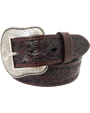 Roper Men's Hand-Tooled Floral Design Belt with Silver Buckle , Brown, hi-res