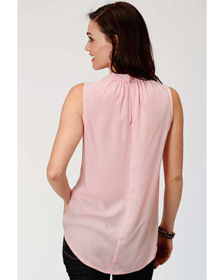 Studio West Women's Pink Floral Embroidered Sleeveless Peasant Top, Pink, hi-res