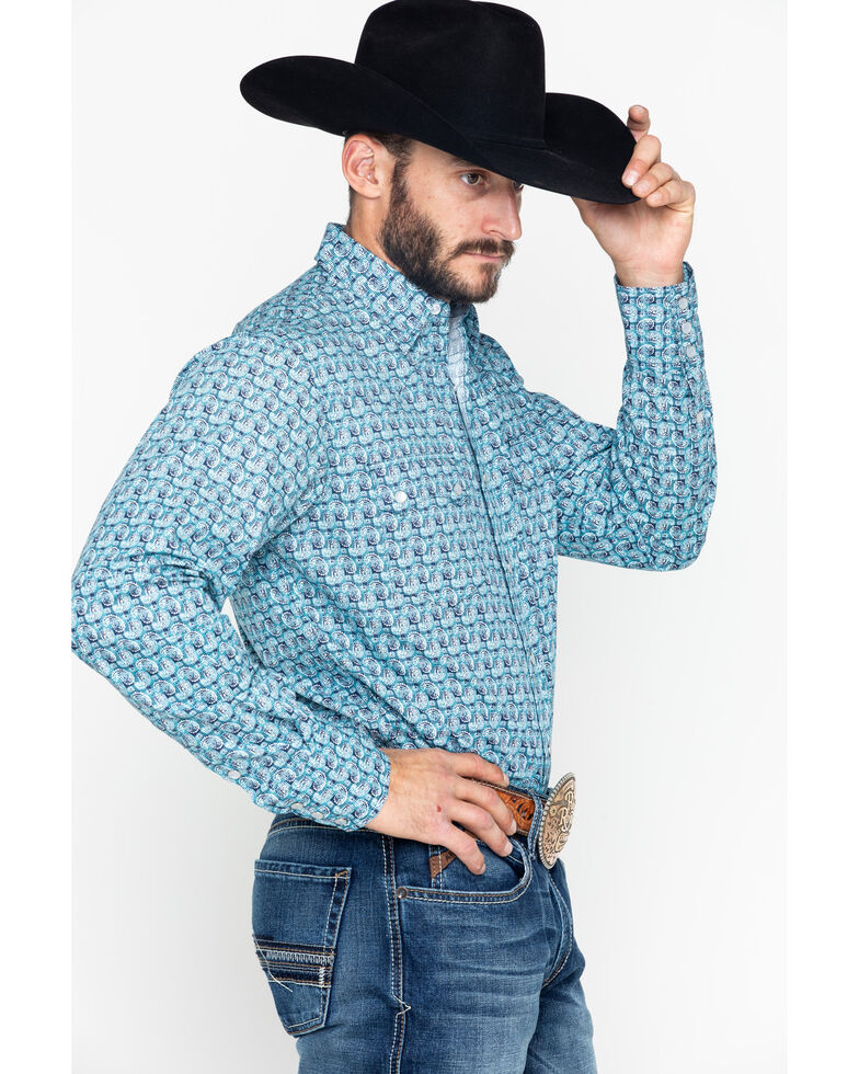 Roper Men's Paisley Print Snap Long Sleeve Shirt  , Blue, hi-res
