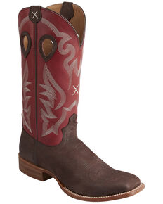 Twisted X Men's Chocolate Ruff Stock Western Boots - Wide Square Toe, Chocolate, hi-res