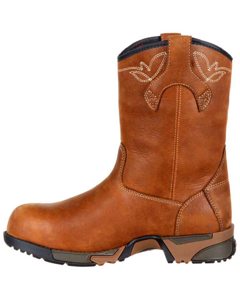 """Rocky Women's Aztec Waterproof 9"""" Work Boots - Composite Toe, Brown, hi-res"""