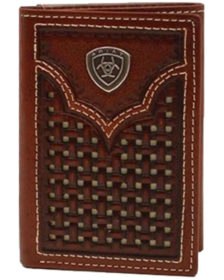 Ariat Men's Leather Trifold Western Wallet, Brown, hi-res