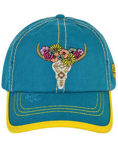 Catchfly Women's Turquoise Floral Cow Skull Embroidered Ball Cap , Turquoise, hi-res
