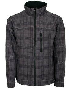 STS Ranchwear Men's Black Plaid The Perf Softshell Jacket , Charcoal, hi-res