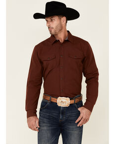 Cody James Men's Fired Up Solid Long Sleeve Snap Western Shirt , Medium Red, hi-res