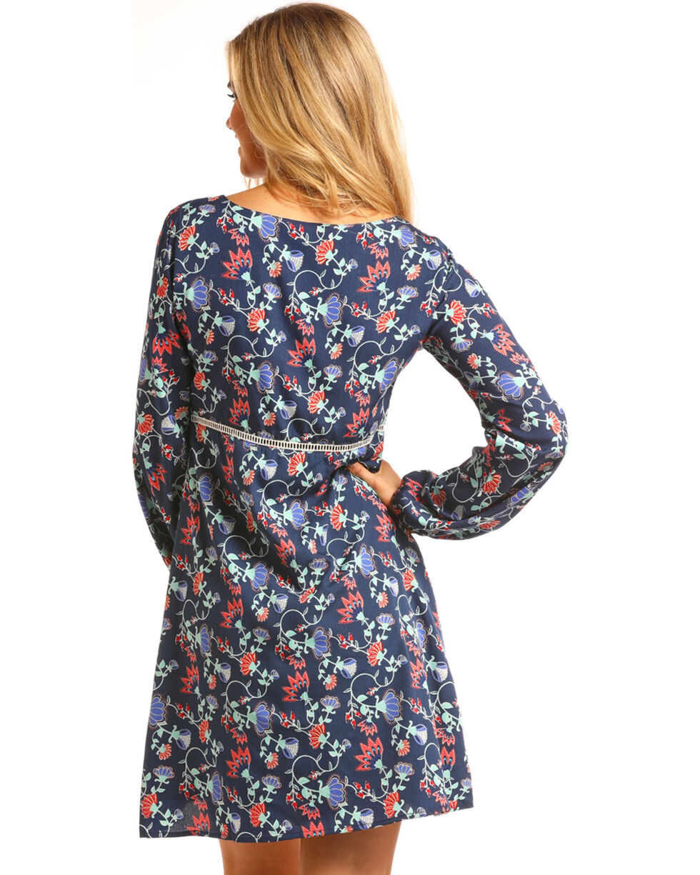 Rock & Roll Cowgirl Women's Blue Floral Empire Waist Dress , Blue, hi-res
