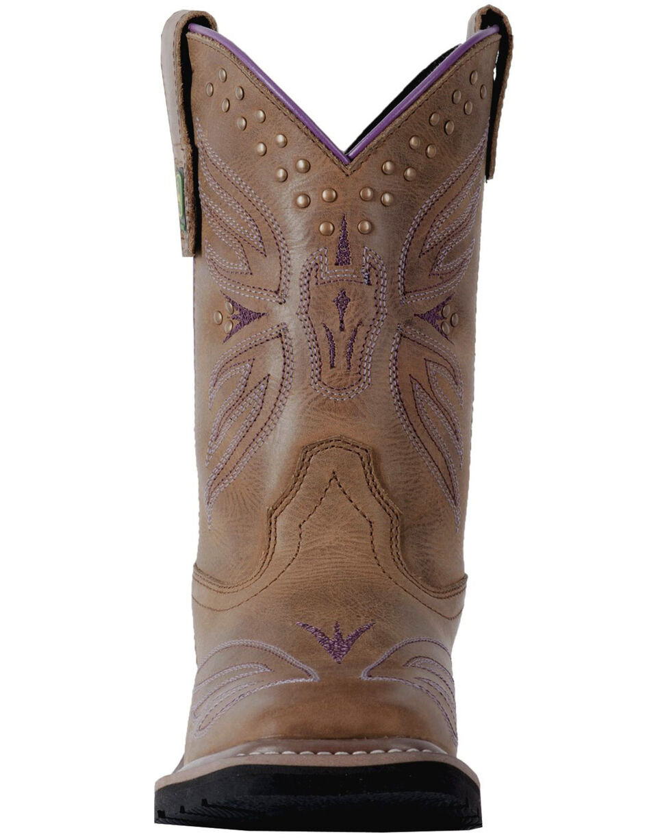 John Deere Youth Girls' Johnny Popper Western Boots - Square Toe, Brown, hi-res