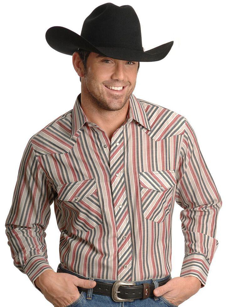 Wrangler Men's Assorted Long Sleeve Western Shirt - Big & Tall, Stripe, hi-res