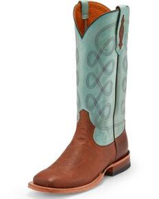 Tony Lama Women's Naomi Sky Blue Western Boots - Square Toe, Brown, hi-res