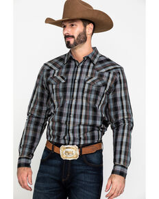 Cody James Men's Chapman Small Plaid Long Sleeve Western Shirt - Tall , Black, hi-res