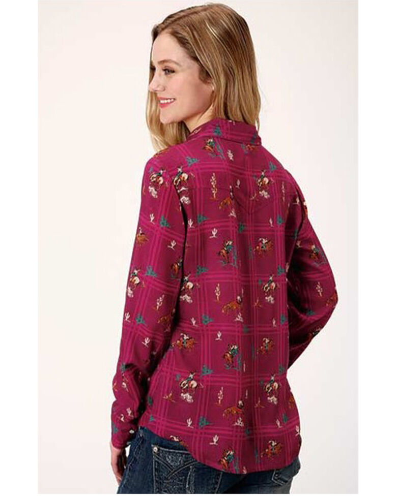 Five Star Women's Pink Retro Cowboy Print Long Sleeve Western Shirt, Dark Pink, hi-res