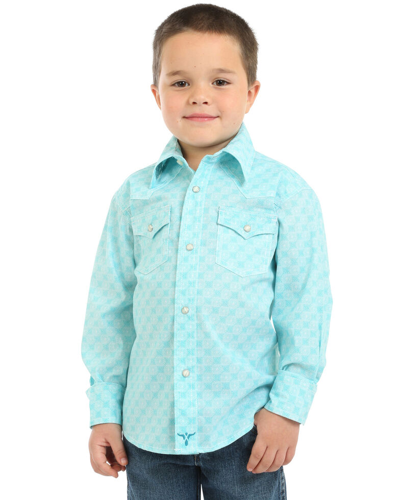 Wrangler 20X Boys' Geo Print Advanced Comfort Long Sleeve Western Shirt , Turquoise, hi-res