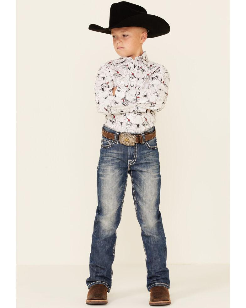Dale Brisby Boys' Rider Print Long Sleeve Snap Western Shirt , White, hi-res