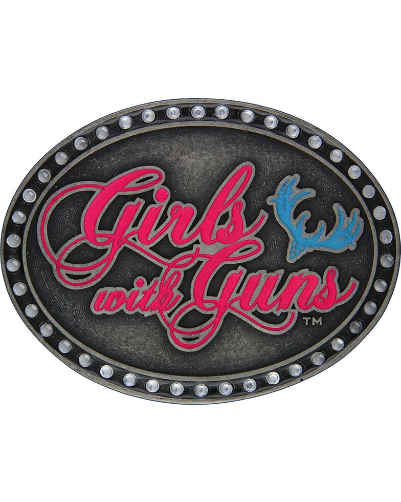 Girls With Guns Oval Neon Attitude Belt Buckle, Silver, hi-res