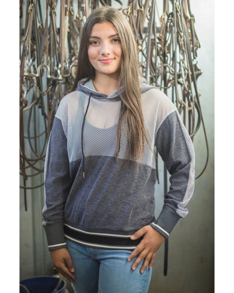 Kimes Ranch Women's Charcoal Color-Block Somers Dream Embroidered Logo Hoodie , Charcoal, hi-res