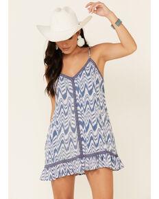 Rock & Roll Denim Women's Ikat Slip Dress, Blue, hi-res