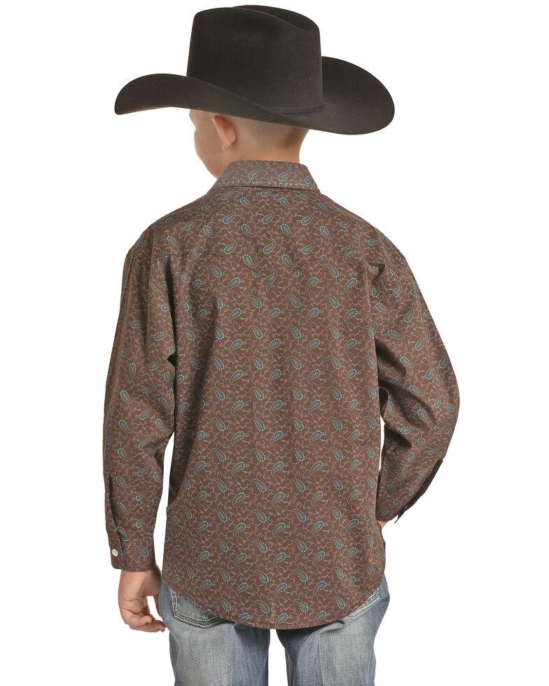 Rock & Roll Denim Boys' Brown Paisley Print Long Sleeve Western Shirt , Brown, hi-res
