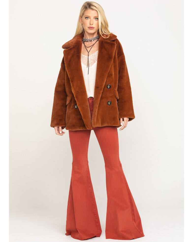 Free People Women's Wine Kate Faux Fur Coat, Wine, hi-res
