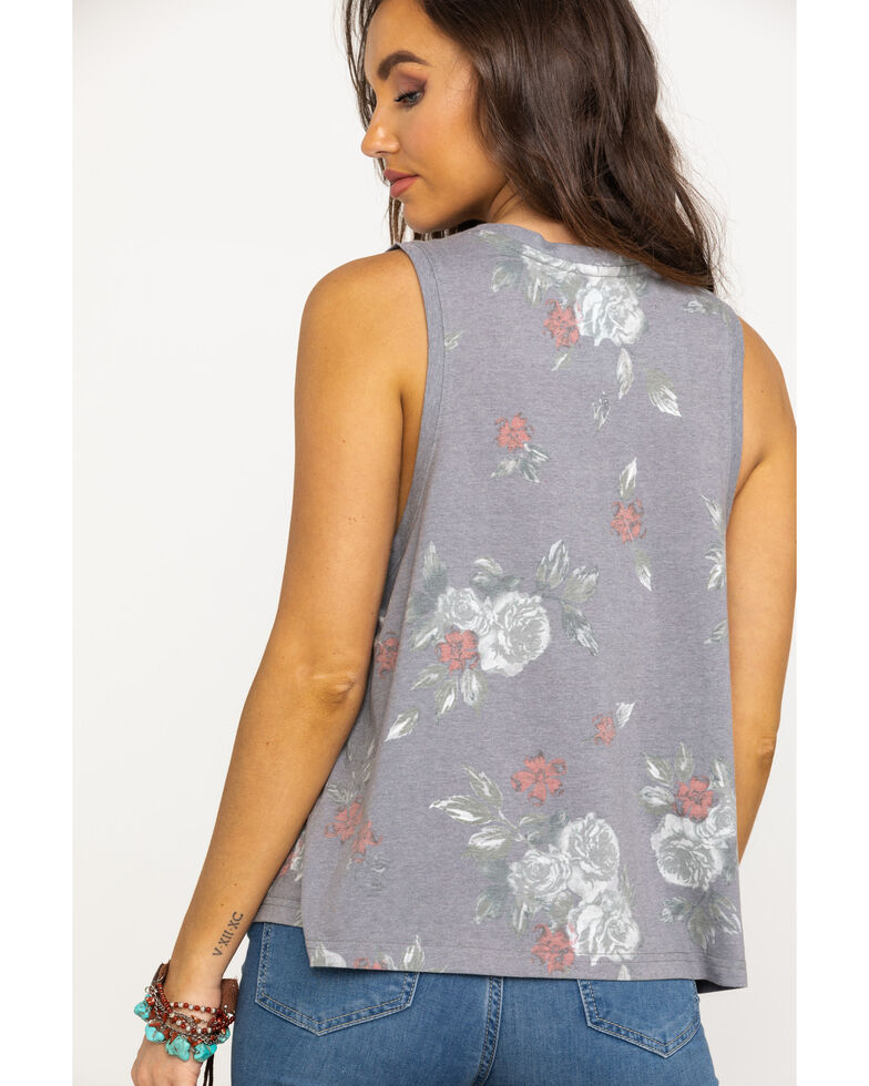 Shyanne Women's Grey Rebels in Paradise Floral Tank Top , Charcoal, hi-res