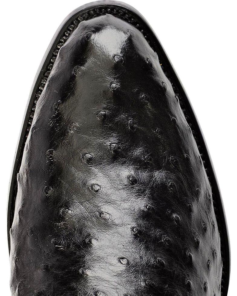 Ferrini Full Quill Ostrich Cowboy Boots - Medium Toe, Black, hi-res