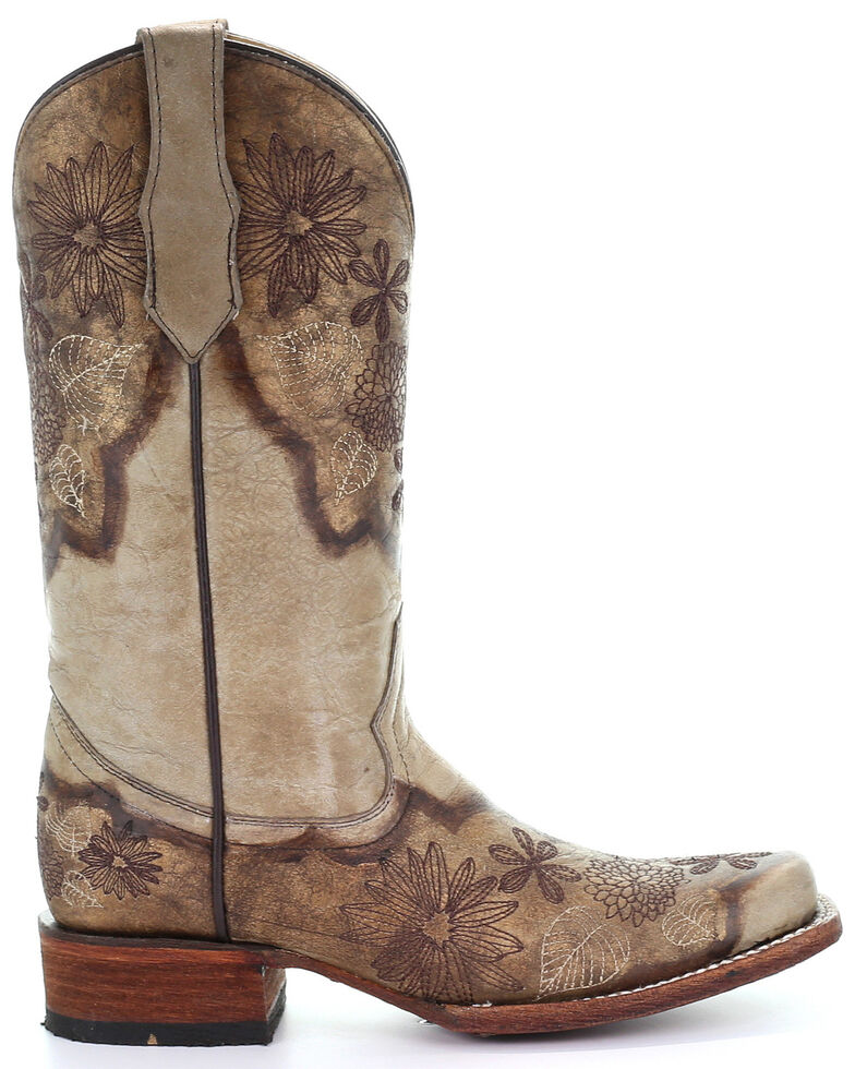 Circle G Women's Sand Brown Floral Embroidered Western Boots - Square Toe, Sand, hi-res