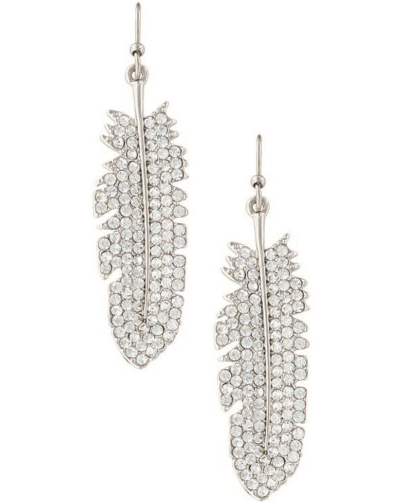 Montana Silversmiths Women's Shimmering Feather Earrings, Silver, hi-res