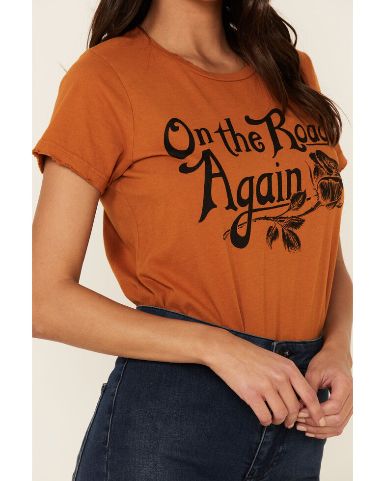 Bandit Brand Women's Cognac On The Road Again Graphic Tee , Cognac, hi-res