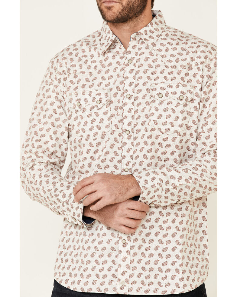 Moonshine Spirit Men's Tan Micro Paisley Print Long Sleeve Western Shirt , Tan, hi-res