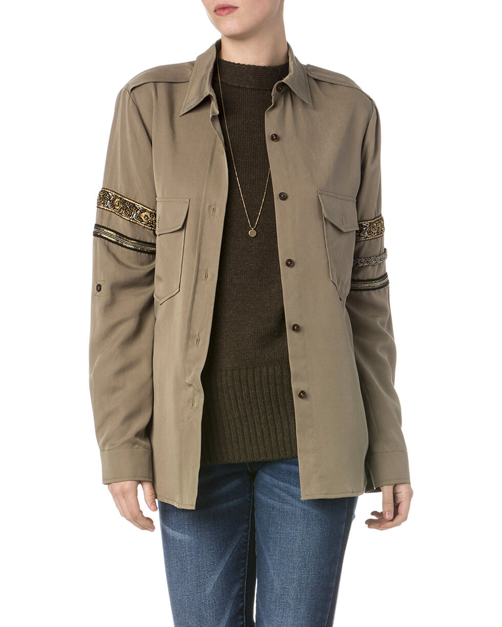 Miss Me Women's Beaded Military Jacket, Olive, hi-res