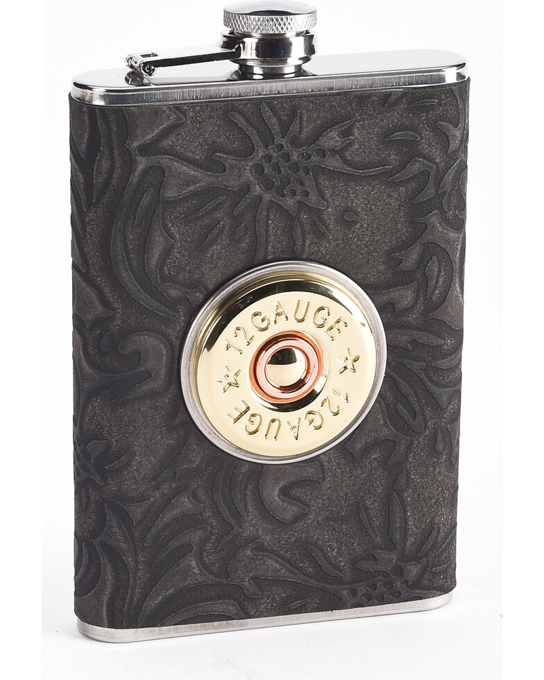 Boot Barn Ranch Black Shot Shell 8OZ Flask     , Black, hi-res