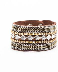 Shyanne Women's Moonlit Fancy Beaded Snap Bracelet , Silver, hi-res