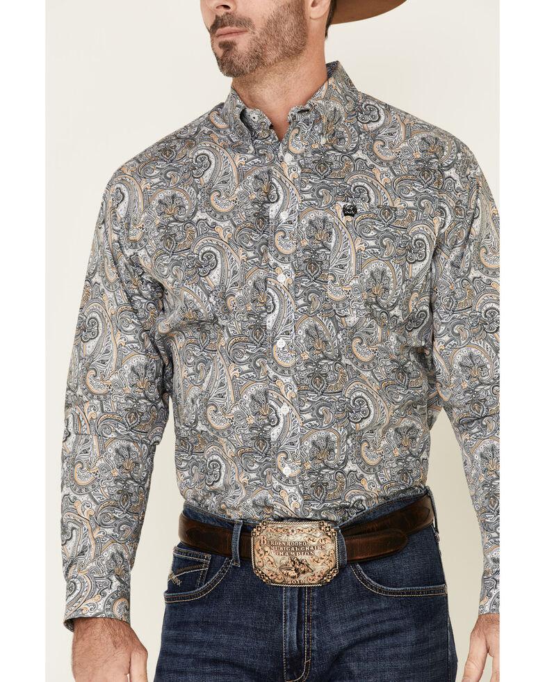 Cinch Men's Multi Large Paisley Print Long Sleeve Western Shirt , Multi, hi-res