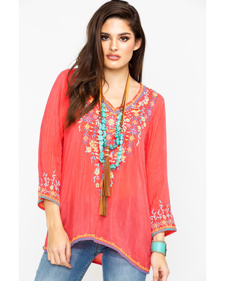 Johnny Was Women's Ryleigh Blouse, Coral, hi-res