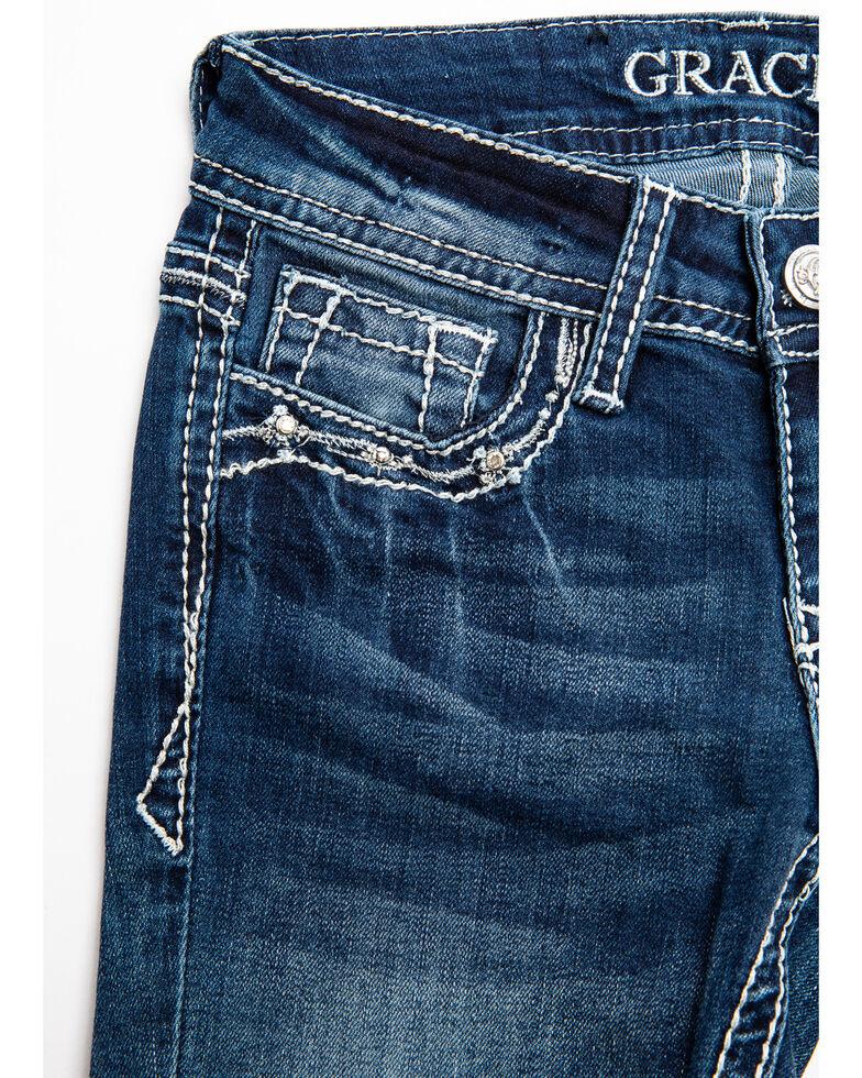 Grace in LA Girls' Cross Embroidery Bootcut Jeans, Blue, hi-res