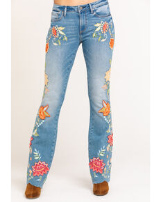 Driftwood Women's Light Wash Eva Embroidered Tangerine Jeans, Blue, hi-res