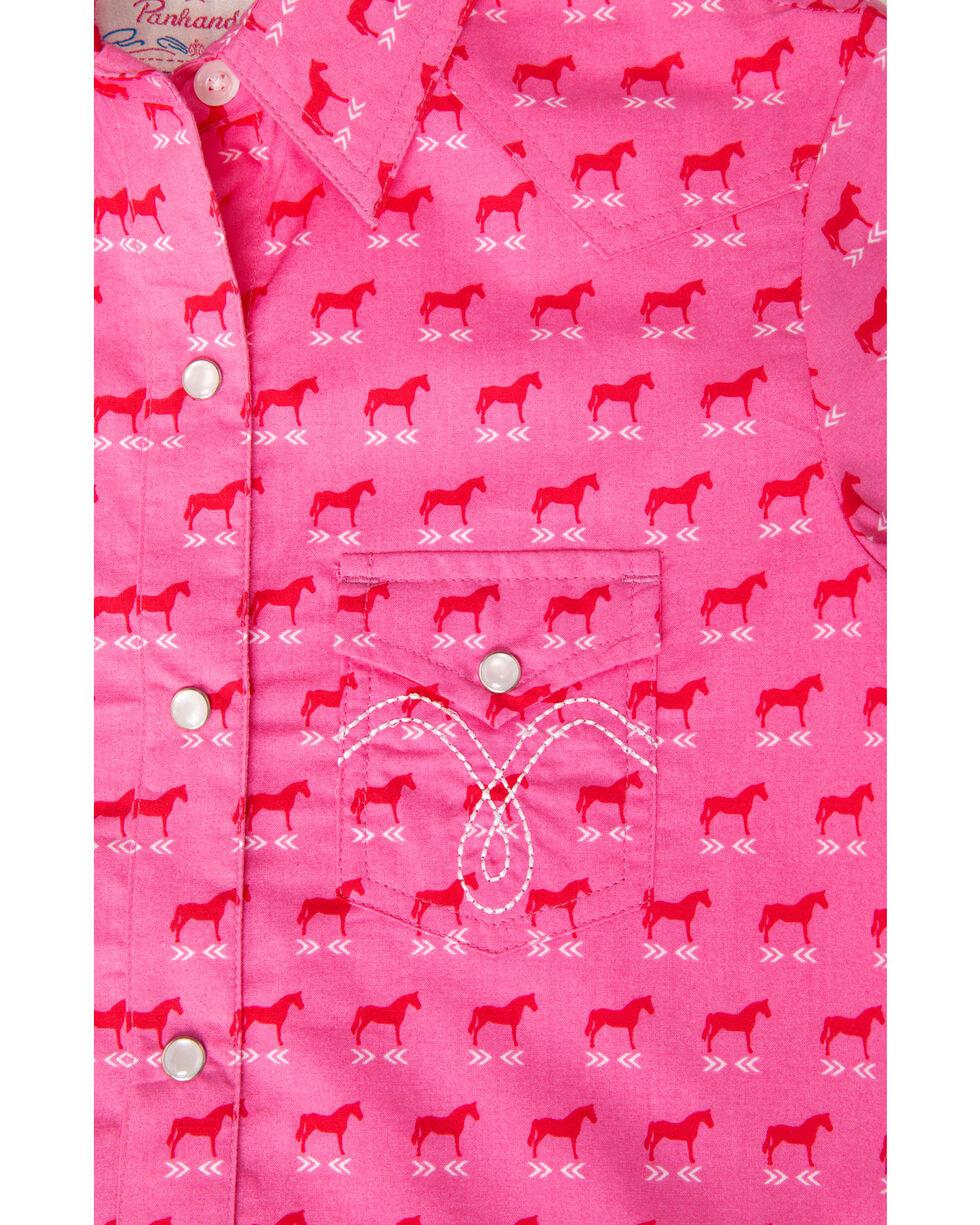 Panhandle Girls' Pink Horse Print Snap Long Sleeve Shirt , Pink, hi-res