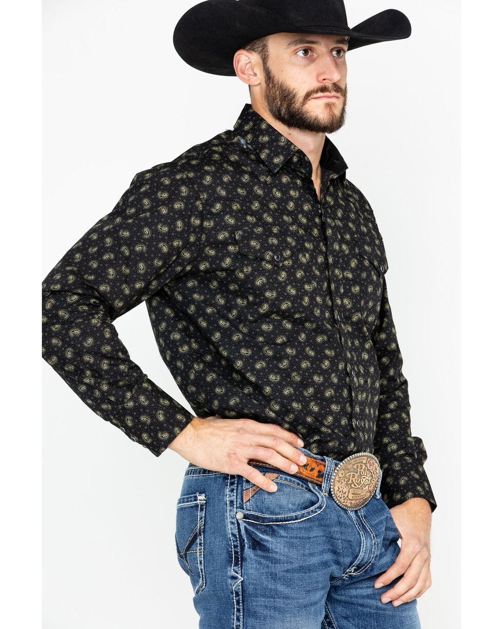 Ely Cattleman Men's Small Paisley Print Long Sleeve Western Shirt , Black, hi-res