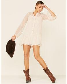 Hyfve Women's Ivory Swiss Dot Button Up Frill Dress, Ivory, hi-res