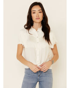 Idyllwind Women's Wild Times Snap Western Top , White, hi-res