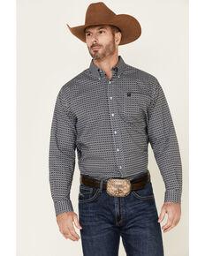Cinch Men's Light Blue Stretch Geo Print Long Sleeve Western Shirt , Light Blue, hi-res