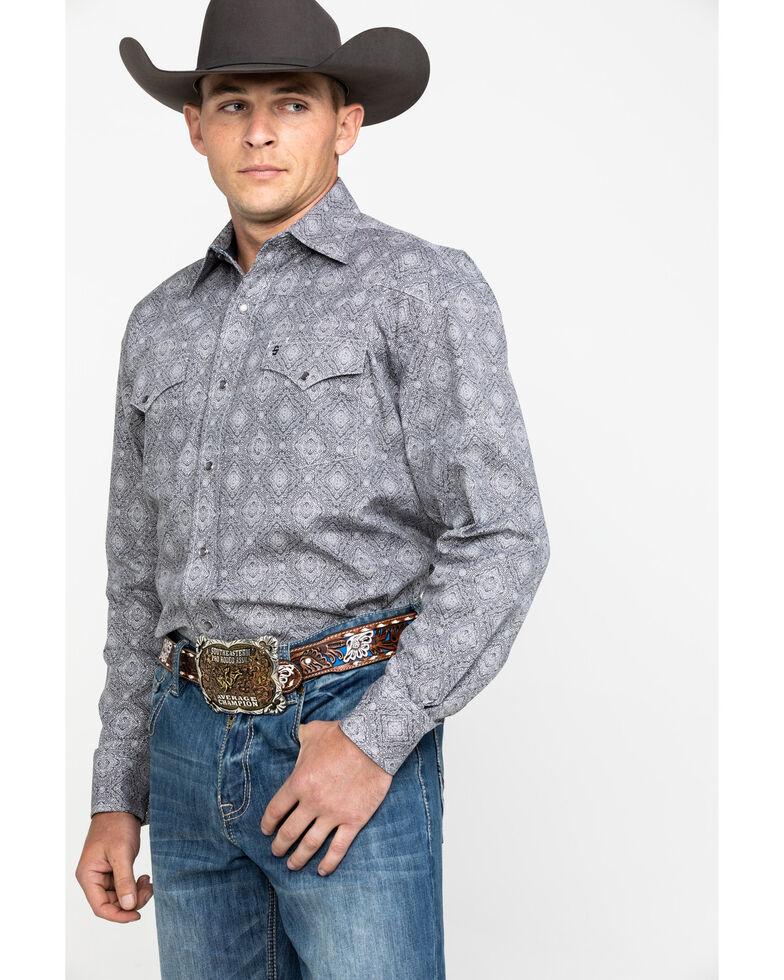 Stetson Men's Gray Medallion Print Long Sleeve Western Shirt , Grey, hi-res