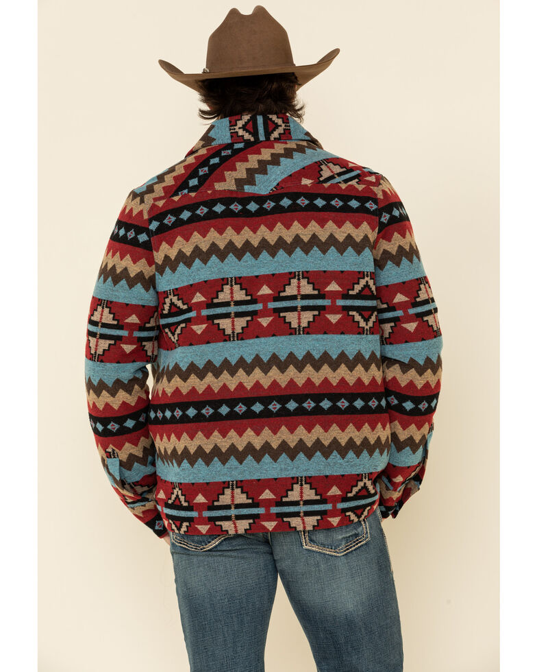 Powder River Outfitters Men's Red Aztec Wool Jacquard Jacket , Red, hi-res