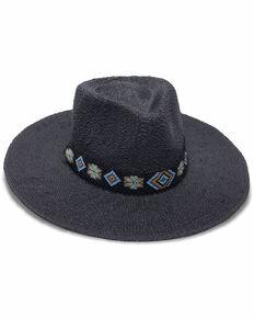 Nikki Beach Women's Black Skye Western Straw Rancher Hat , Black, hi-res