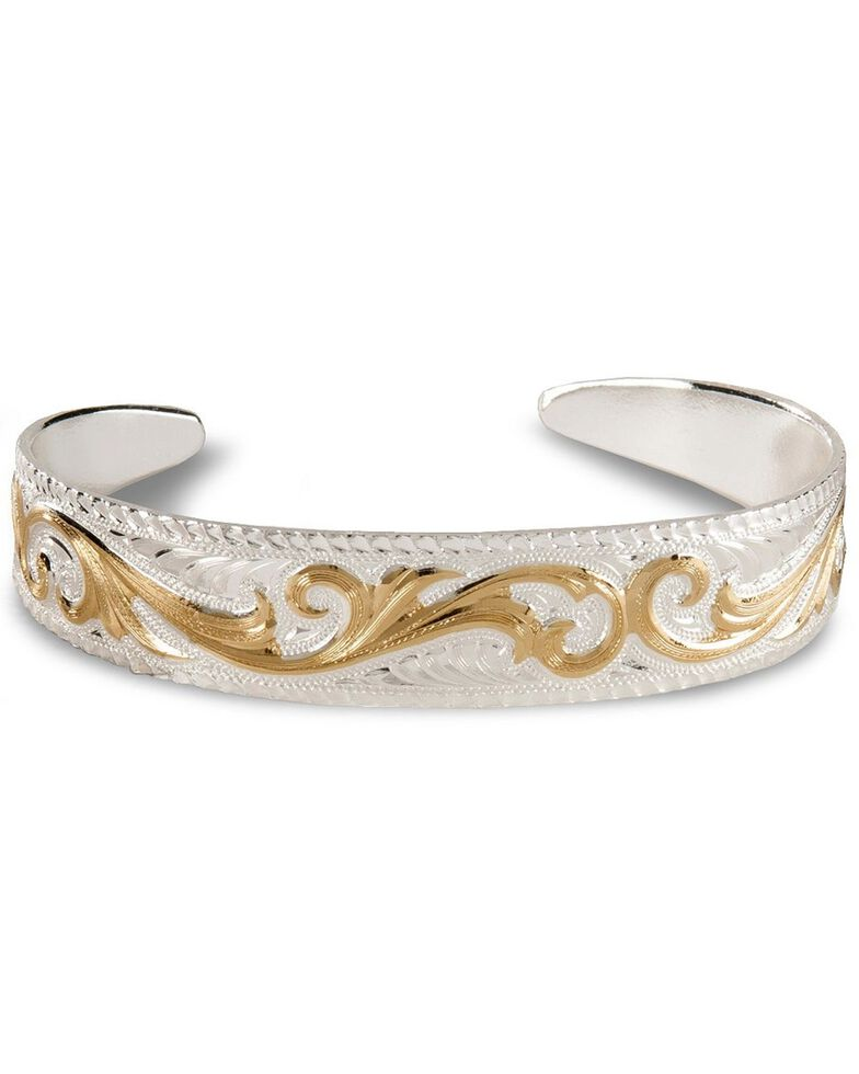 Montana Silversmiths Tapered Scroll Cuff Bracelet, Silver, hi-res