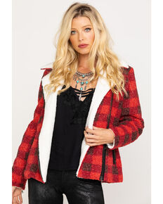 Idyllwind Women's Lumber Jill Faux Sherpa Moto Jacket, Black/red, hi-res