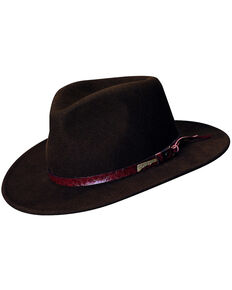 Indiana Jones Brown Leather Trim Wool Felt Fedora Hat, Brown, hi-res